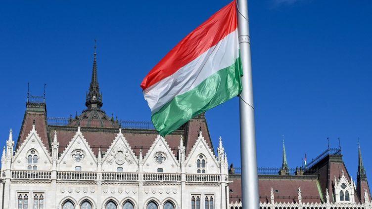 Le drapeau hongrois, en face du Parlement à Budapest, durant une cérémonie du jour de la fête nationale le 20 août 2020. (ATTILA KISBENEDEK / AFP)