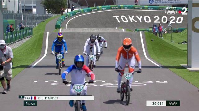 Nous aurons donc trois Français en demies des JO en BMX. Joris Daudet remporte une nouvelle fois son épreuve et rejoint Romain Mahieu et Sylvain André.