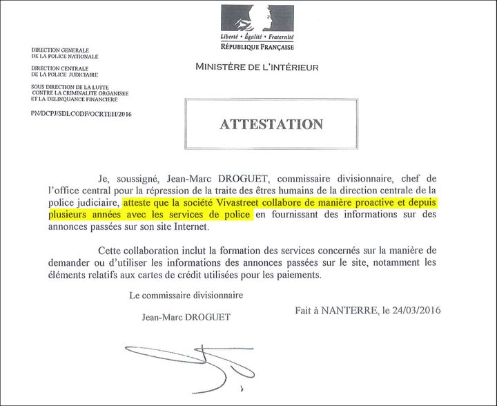 Attestation du chef de l'OCRTEH. (DR)