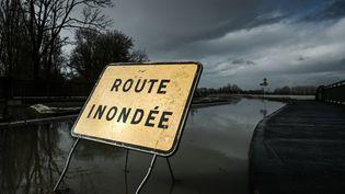 Illustration des inondationsà la suite de fortes pluies dans le sud-ouest de la France,à Cadillac le 3 février 2021. (PHILIPPE LOPEZ / AFP)