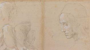 """""""Etude pour une draperie et tête d'homme"""" de Raphaël  (Beaux-Arts de Paris)"""