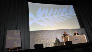 Une conférence de presse, à Paris le 3 juin 2021, pour annoncer la sélection officielle du 74e festival de Cannes qui se tiendra du 6 au 17 juillet 2021. (STEPHANE DE SAKUTIN / AFP)