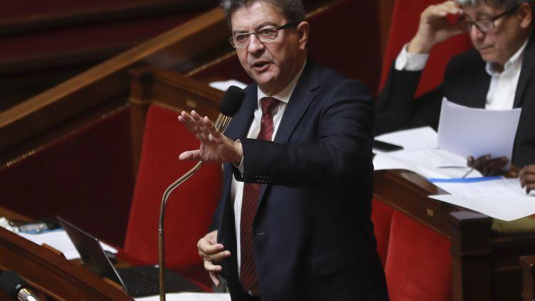 Jean-Luc Mélenchon s'adresse au gouvernement, le 26 juillet 2017, à l'Assemblée nationale, à Paris. (JACQUES DEMARTHON / AFP)