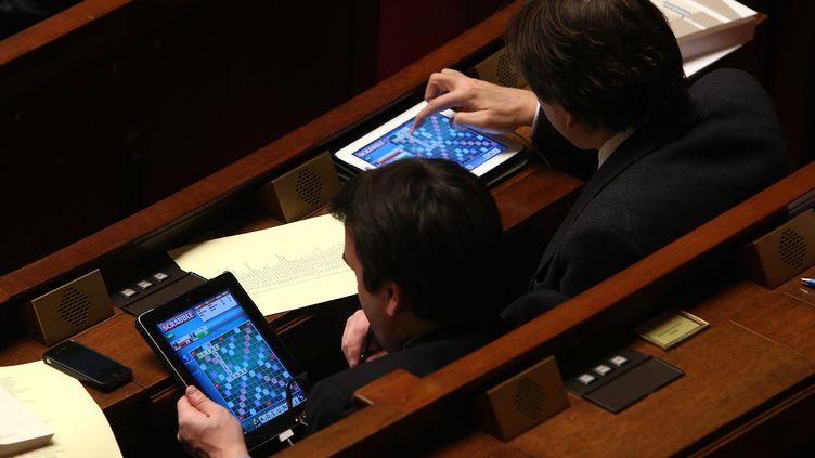 Thomas Thévenoud et Jérôme Guedj, alors députés socialistes, jouant au Scrabble en séance de nuit à l'Assemblée Nationale, le 4 février 2013. (MAXPPP)