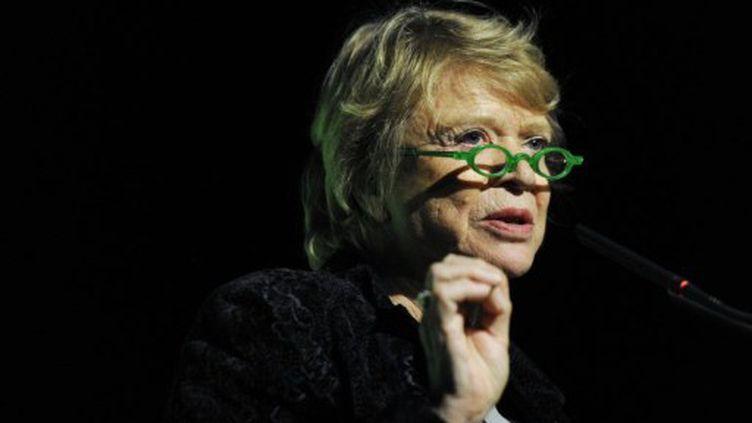 Eva Joly, lors de son discours à Caen le 3 février (BERTRAND GUAY / AFP)