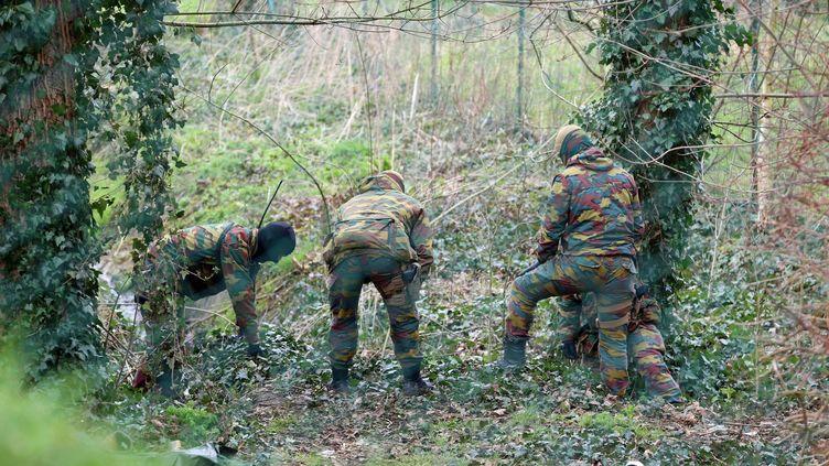 Des militaires, munis de détecteurs de métaux et accompagnés de chiens, ont fouillé les abords d'une maison du quartier de Rodenburg, à Courtrai (Belgique), jeudi 31 mars 2016. (NICOLAS MAETERLINCK / BELGA / AFP)