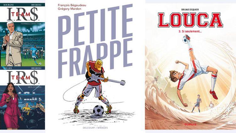 (les BD foot fleurissent pour la Coupe du Monde © Bourgne, Le Lombard / Koller, le Lombard / G. Mardon, Delcourt / B. Dequier, Dupuis)