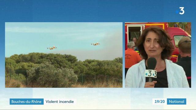 Bouches-du-Rhône : les pompiers tentent de maîtriser un violent incendie à Istres