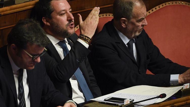 Matteo Salvini lors d'une séanceau Sénat italien, le 12 février 2020, à Rome. (FILIPPO MONTEFORTE / AFP)