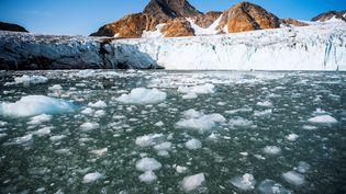 Le glacier Apusiajik à Qulusuk (Groenland, Danemark), le 17 août 2019. (JONATHAN NACKSTRAND / AFP)