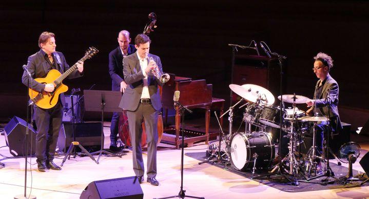 Le trompettiste Fabien Mary entouré du guitariste Hugo Lippi, du contrebassiste Sylvain Romano et du batteur Mourad Benhammou à la Seine Musicale (9 février 2019)  (Annie Yanbékian / Culturebox)