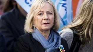 Frédérique Rolet, porte-parole du syndicat de professeurs SNES-FSU, dans la manifestation du 30 mars 2019 à Paris. (VINCENT ISORE / MAXPPP)