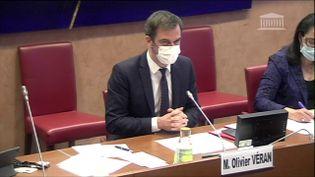 Le ministre de la Santé Olivier Véran, lors d'une audition par la commission des Affaires sociales de l'Assemblée nationale, le 12 janvier 2021. (ASSEMBLEE NATIONALE)