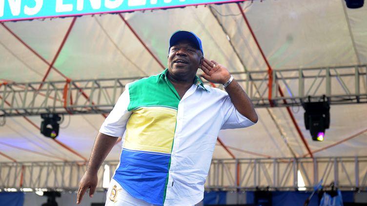 Ali Bongo le 26 août 2016 lors d'un meeting (STEVE JORDAN / AFP)