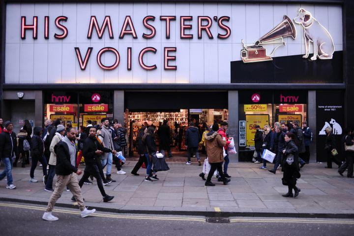 L'ancien magasin HMV sur Oxford Street, à Londres. (DAVID CLIFF / NURPHOTO)