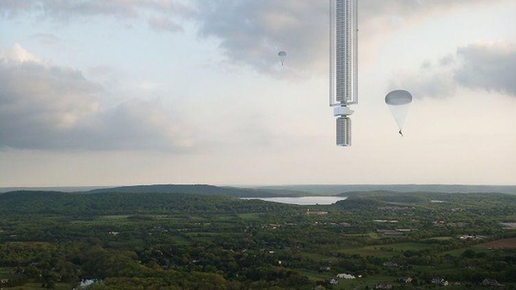 Modélisation du projet de tour suspendue à un astéroïde conçu par l'agence d'architecture américaine Clouds AO. (CLOUDS ARCHITECTURE OFFICE)