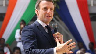 Emmanuel Macron, le 21 décembre 2019, à Abidjan (Côte d'Ivoire). (LUDOVIC MARIN / AFP)