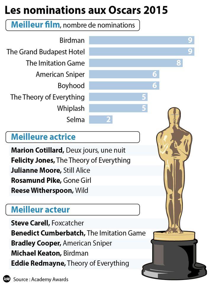 (Le résumé des nominations aux Oscars 2015 © IDE)