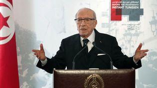 Le président Beji Caïd Essebsi prononce un discours au musée du Bardo à l'occasion de la célébration du 8e anniversaire de la révolution tunisienne. (TUNISIAN PRESIDENCY / AFP)
