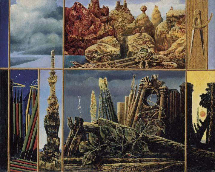 "Max Ernst, ""Peinture pour les jeunes"", 1943. Huile sur toile, 60,5 × 76,5 cm. Collection Ulla und Heiner Pietzsch, Berlin. (2013, PROLITTERIS, ZURICH / PHOTO JOCHEN LITTKEMANN, BERLIN)"