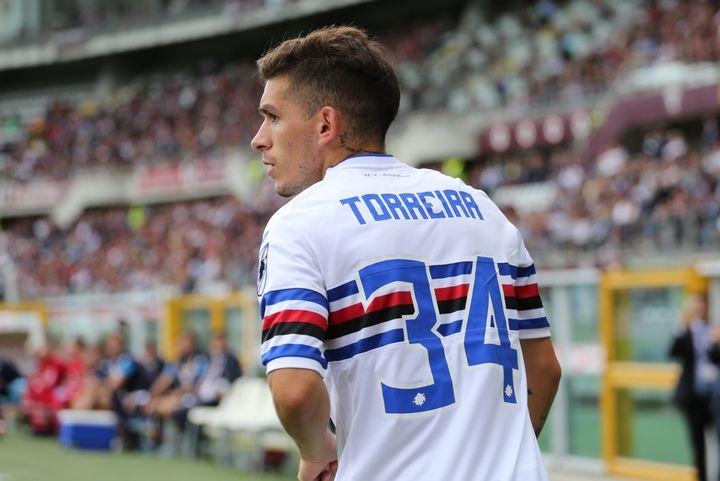 Lucas Torreira sous les couleurs de la Sampdoria. (MASSIMILIANO FERRARO / NURPHOTO)