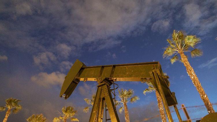 Un puits de pétrole, à Signal Hill, en Californie, le 9 mars 2020. (DAVID MCNEW / AFP)