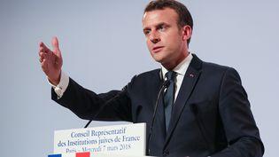 Le président de la République Emmanuel Macron au diner du Crif, le 7 mars 2018 à Paris. (LUDOVIC MARIN / AFP)