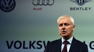 Le PDG de Volkswagen, Matthias Müller, le 10 janvier 2016 à Detroit (Etats-Unis). (JEWEL SAMAD / AFP)