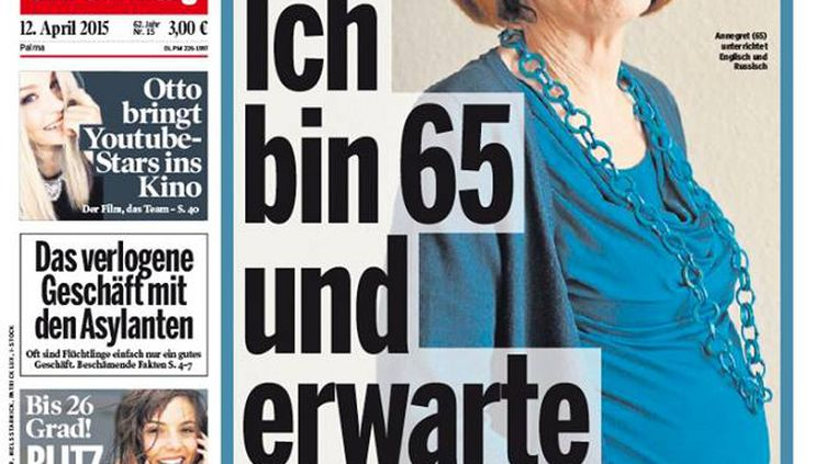 """Annegret Raunigk, enceinte de quadruplés à 65 ans,pose en une du quotidien allemand """"Bild"""", le 12 avril 2015. (BILD)"""
