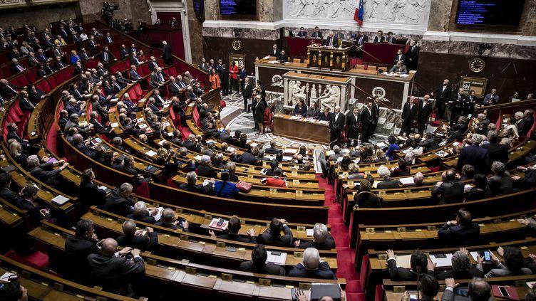Les députés àl'Assemblée nationale, lors de la dernière séance de questions au gouvernement de la 14e législature de la Ve République,le 22 février 2017. (MAXPPP)