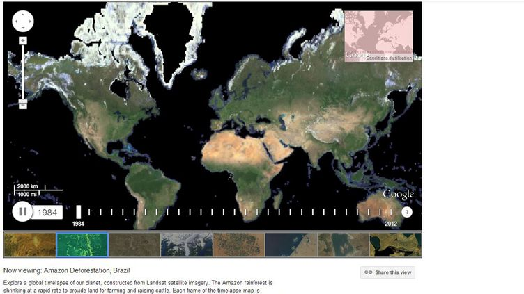 Capture d'écran du site Google Earth Engine. ( FRANCETV INFO)