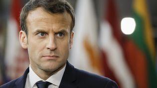 Emmanuel Macron, le 15 mars 2018 à Bruxelles (Belgique). (THIERRY ROGE / BELGA MAG / AFP)