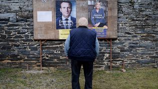 Un homme se tient devant les panneaux d'affichage électoraux, le 7 mai 2017, àSaint-Sulpice-des-Landes (Loire-Atlantique), à l'occasion du second tour de l'élection présidentielle. (JEAN-SEBASTIEN EVRARD / AFP)