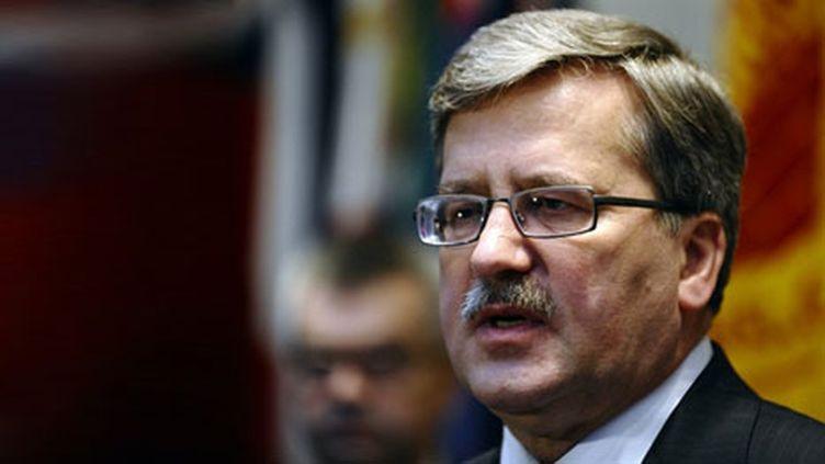 Le président polonais, Bronislaw Komorowski, au Musée de l'Holocauste, à Washington, le 8/12/10 (AFP/Jewel Samad)