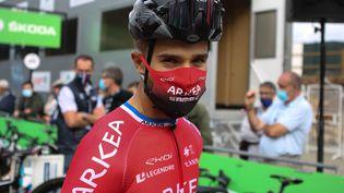 Le cyclisteNacer Bouhanni, à Grand-Champ (Morbihan),le 23 août 2020. (LAURENT LAIRYS /  DPPI / AFP)