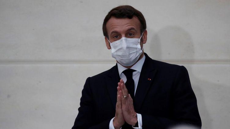 Le président français, Emmanuel Macron, à l'Elysée, à Paris, le 13 janvier2021. (FRANCOIS MORI / AFP)