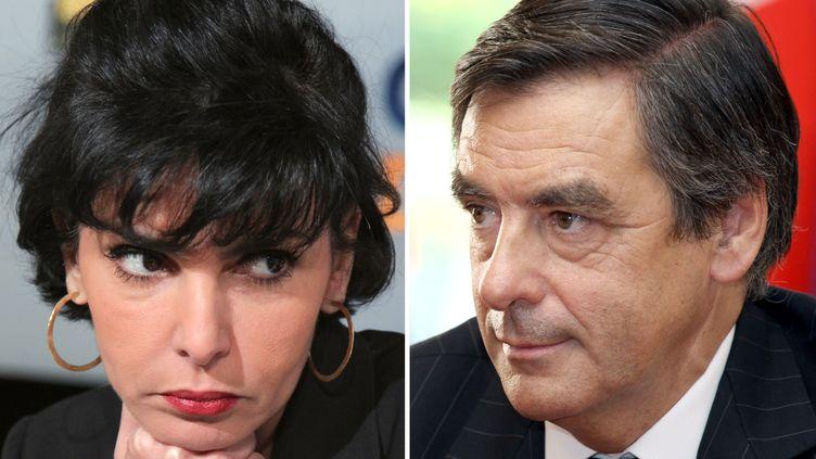 Montage réalisé à partir de deux photos prises à Paris, l'une datée du 4 mai 2011 de l'ancienne ministre de la Justice Rachida Dati, l'autre datée du 20 avril 2011 du Premier ministre François Fillon. (PIERRE VERDY MIGUEL MEDINA / AFP)