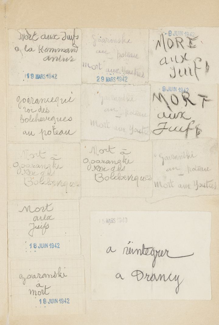 Papillons proférant des menaces à l'encontre de Georges Koiranski  (Archives nationales / Pierre Grand)