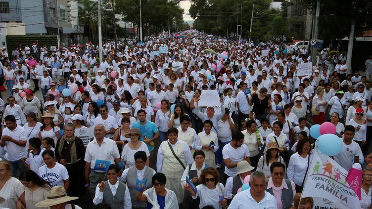 Des centaines de personnes défilent dans les rues de la ville de Guadalajara, au Mexique, le 10 septembre 2016, contre le mariage pour tous. (REUTERS)