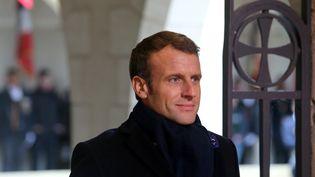 Emmanuel Macron lors de son déplacement dans la Marne le 14 novembre 2019. (FRANCOIS NASCIMBENI / AFP)