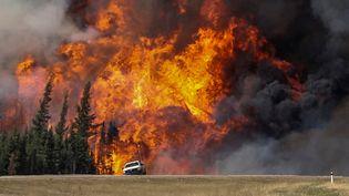 Près de Fort McMurray, dans la région de l'Alberta (Canada), de la fumée et des flammes jaillissent derrière une voiture sur une autoroute, le 7 mai 2016. Plus de 200 000 hectares sont partis en fumée lors de ces feux de forêts.Quelque 2 000 habitations de Fort McMurray ont en outre été détruites, selon la BBC. (MARK BLINCH / REUTERS / X02025)