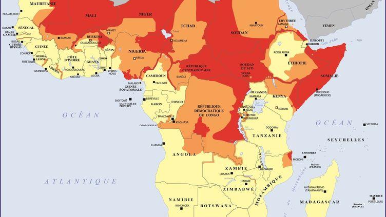 Carte des zones à éviter pour les voyageurs français,disponible sur le site duministère des Affaires étrangères le 12 mai 2019. (MINISTERE DES AFFAIRES ETRANGERES)