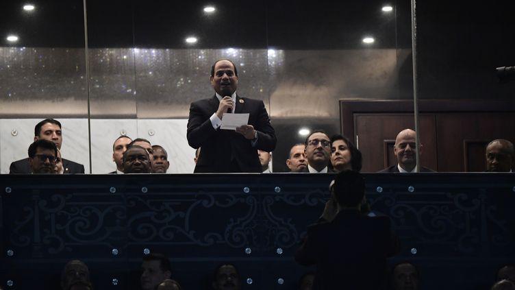 Le président égyptien Abdel Fattah Al-Sissi dans son discours d'inauguration de la CAN 2019.  (JAVIER SORIANO / AFP)
