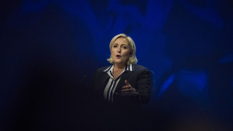 Marine Le Pen, en meeting à Nice (Alpes-Maritimes), le 27 avril 2017. (CITIZENSIDE/JEAN-LUC THIBAULT / CITIZENSIDE / AFP)