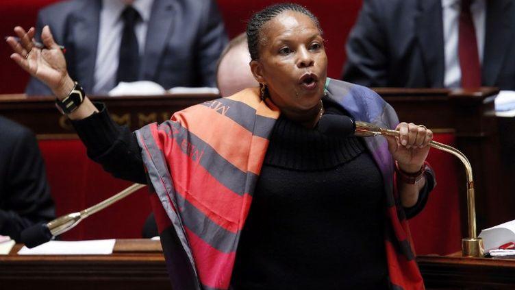 Christiane Taubira le 7 février 2013 pendant les débats sur le Mariage pour tous à l'Assemblée nationale à Paris. (PIERRE VERDY / AFP)