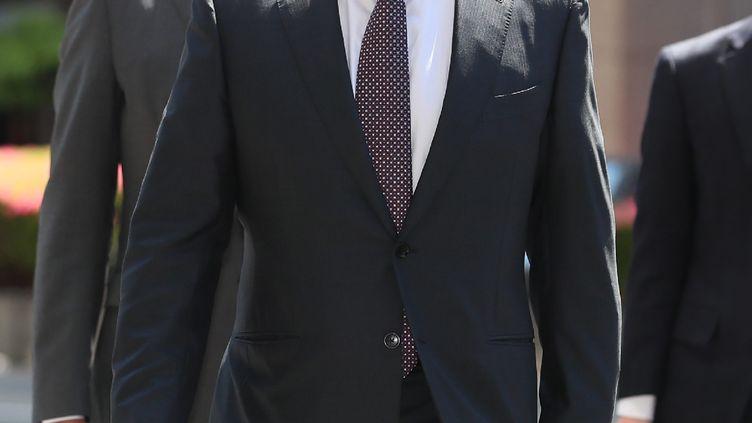 Carlos Ghosn, l'ancien PDG de Renault-Nissan, le 23 mai 2019 à Tokyo (Japon). (JIJI PRESS / AFP)