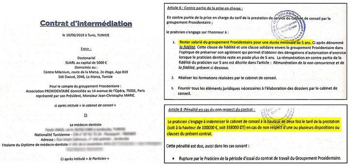 Exemplaire d'un contrat tunisien avec Doctonarial. (DOCUMENT CONFIDENTIEL CELLULE INVESTIGATION DE RADIO FRANCE / LAETITIA CHEREL)