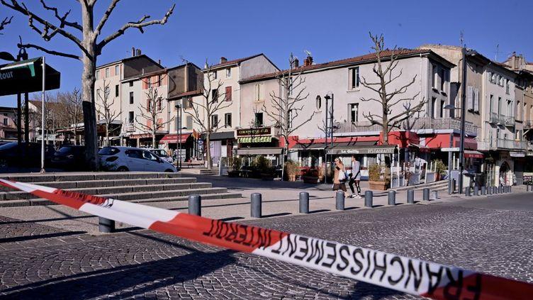 Le centre-ville de Romans-sur-Isère, le 4 avril 2020. (JEFF PACHOUD / AFP)
