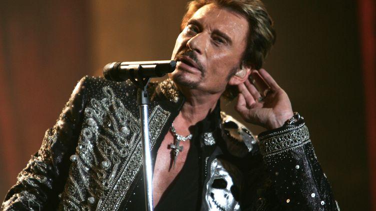 Johnny Hallyday en concert à Bercy, à Paris, le 6 décembre 2017. (FRED DUFOUR / AFP)