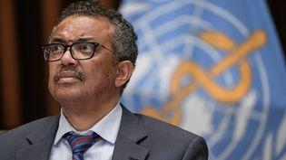 Le directeur général de l'Organisation mondiale de la santé, Tedros Adhanom Ghebreyesus, le 3 juillet 2020 lors d'une conférence de presse à Genève (Suisse). (FABRICE COFFRINI / AFP)